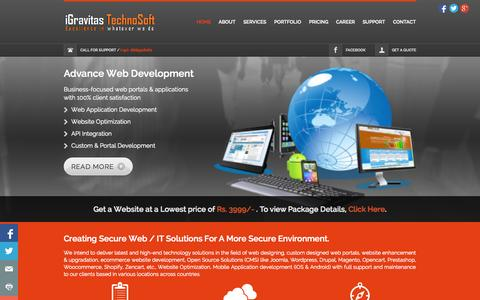 Screenshot of Home Page igravitas.in - Home :: web designing | website designing | website design | website design india | web development company - captured Oct. 1, 2014