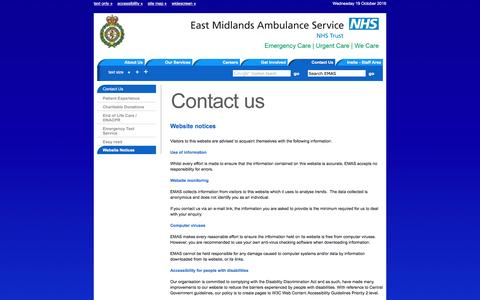 Screenshot of Privacy Page emas.nhs.uk - Website Notices | East Midlands Ambulance Service NHS Trust - captured Oct. 19, 2016