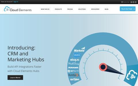 Screenshot of Home Page cloud-elements.com - Cloud Elements | Cloud API Integrations - captured Jan. 20, 2015