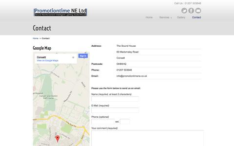 Screenshot of Contact Page promotiontime-ne-audio-visual.co.uk - Contact «  Audio and Visual Installation | Promotiontime North East Ltd - captured Oct. 3, 2014