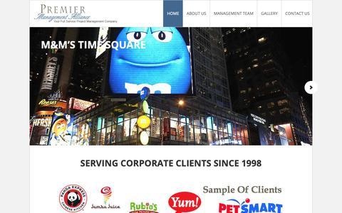 Screenshot of Home Page pmallc.com - PMA LLC – Premier Management Alliance - captured Sept. 29, 2018