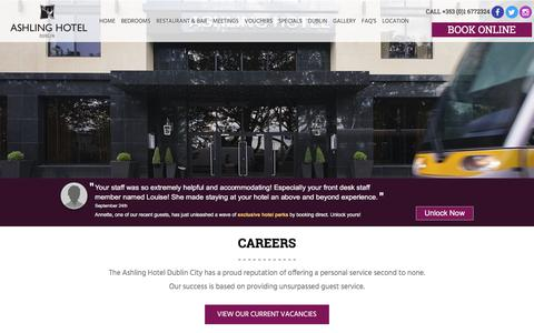 Screenshot of Jobs Page ashlinghotel.ie - Careers | Ashling Hotel Dublin - captured Oct. 8, 2017