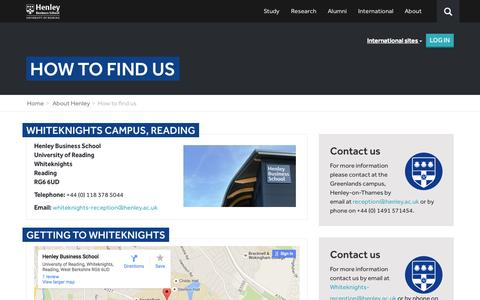 Screenshot of Contact Page Maps & Directions Page henley.ac.uk - How to find us - Henley Business School - captured Oct. 2, 2015