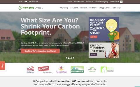 Screenshot of Home Page nextstepliving.com - Next Step Living® | Save Energy at Home - Home Energy Audits MA & CT - captured Jan. 15, 2015