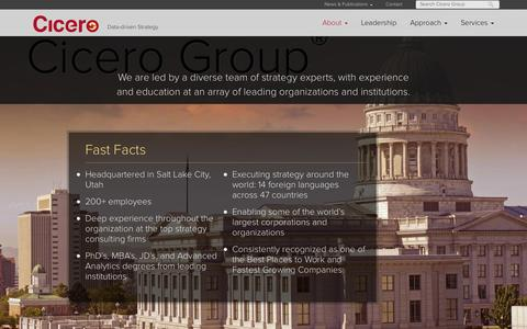 Screenshot of About Page cicerogroup.com captured Oct. 28, 2014