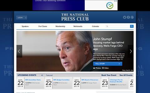 Screenshot of Home Page press.org - Home | National Press Club - captured Sept. 23, 2014