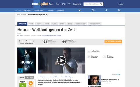 Screenshot of Hours Page moviepilot.de - Hours - Wettlauf gegen die Zeit | Film 2013 | moviepilot.de - captured Aug. 22, 2018