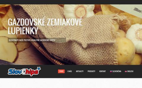 Screenshot of Home Page slovchips.sk - SlovChips - jedinečné slovenské chipsy - captured Oct. 11, 2015