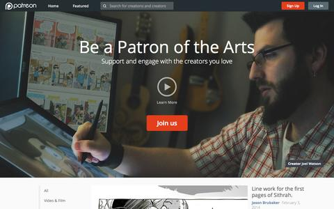Screenshot of Home Page patreon.com - Patreon: Support the creators you love - captured Jan. 14, 2015