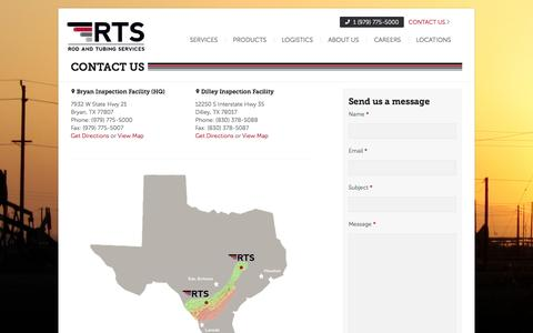 Screenshot of Contact Page Locations Page rodservices.com - Rod & Tubing Services - captured Oct. 22, 2014