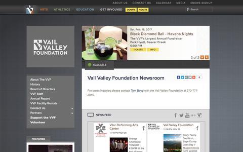Screenshot of Press Page vvf.org - Vail Valley Foundation - Inspiring Lives Enriching Community - captured Dec. 2, 2016