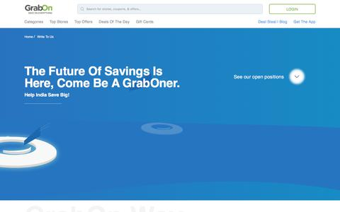 Screenshot of Jobs Page grabon.in - GrabOn - Join Us & Be A Part Of The Savings Revolution - captured July 11, 2018