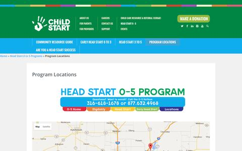 Screenshot of Locations Page childstart.org - Program Locations | Child Start - captured July 13, 2016