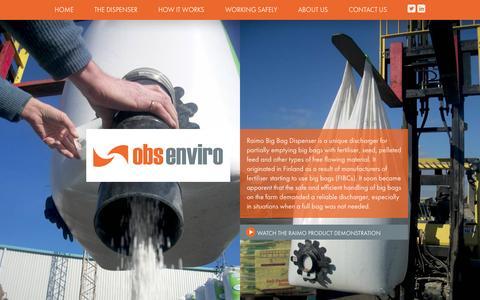 Screenshot of Home Page obsenviro.com - Raimo Big Bag Dispenser · OBS Enviro - captured Aug. 16, 2015