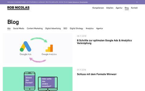 Screenshot of Blog robnicolas.ch - Blog - Beiträge zum Thema Online Marketing der Agentur ROB NICOLAS - captured Nov. 17, 2018