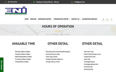 Screenshot of Hours Page goeni.com - ENI Hours of operation - captured Jan. 27, 2016