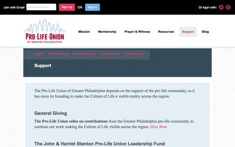 Screenshot of Support Page prolifeunion.org - Support - Pro-Life Union of Greater Philadelphia - captured Nov. 2, 2014