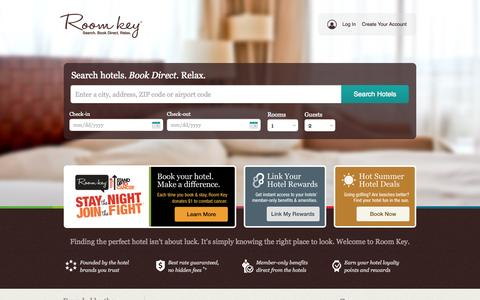 Screenshot of Home Page roomkey.com - Roomkey.com - Search. Book direct. Relax. - captured Sept. 18, 2014