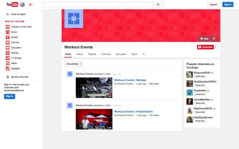 Screenshot of YouTube Page youtube.com - Workout Events  - YouTube - captured Nov. 5, 2014