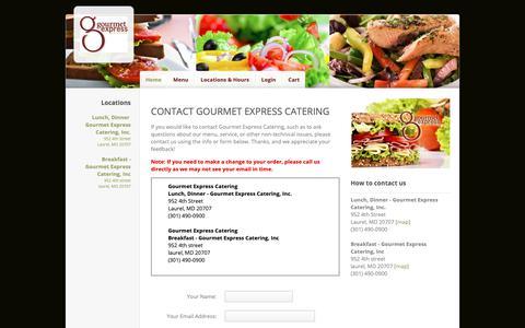 Screenshot of Contact Page ehungry.com - Gourmet Express Catering | Contact Us - captured Oct. 24, 2018