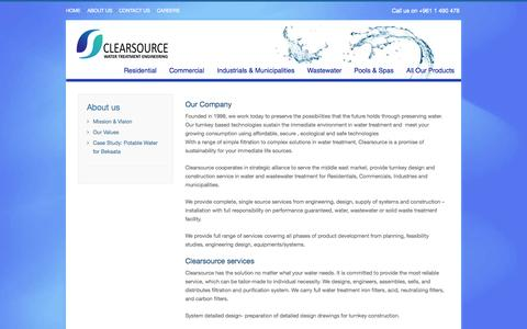 Screenshot of About Page clearsourcesarl.com - Clearsource - Water Treatment Lebanon - About us - captured Oct. 2, 2014