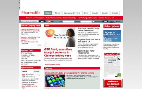 Screenshot of Home Page pharmafile.com - Home | Pharmafile - captured Sept. 23, 2014