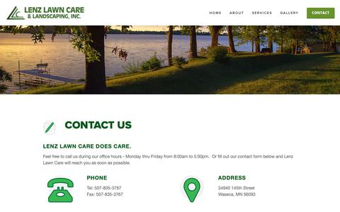 Screenshot of Contact Page lenzlawncare.com - Contact — Lenz Lawn Care - captured Sept. 28, 2018