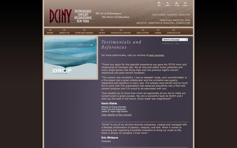 Screenshot of Testimonials Page dciny.org - Distinguished Concerts International - New York - Testimonials and References - captured Oct. 5, 2014