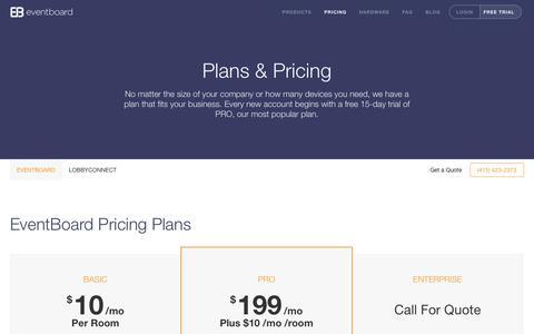 Screenshot of Pricing Page eventboard.io - Pricing :: EventBoard - captured Dec. 16, 2014