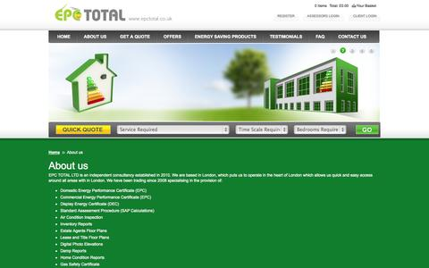 Screenshot of About Page epctotal.co.uk - Commercial & Energy Performance Certificate, Energy Saving Light Bulbs - captured Oct. 1, 2014