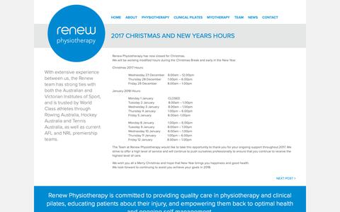 Screenshot of Hours Page renewphysiotherapy.com.au - Renew Physiotherapy » 2017 Christmas and New Years Hours - captured Oct. 18, 2018