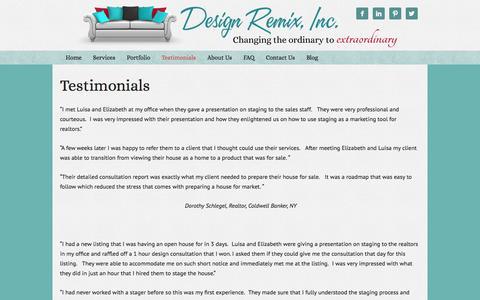 Screenshot of Testimonials Page designremixinc.com - Testimonials - captured Sept. 30, 2014