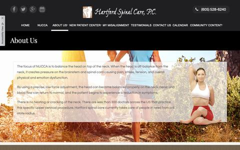 Screenshot of About Page hartfordspinalcare.com - Hartford Spinal Care, P.C. - Chiropractor in Hartford, SD US :: About Us - captured Nov. 4, 2018