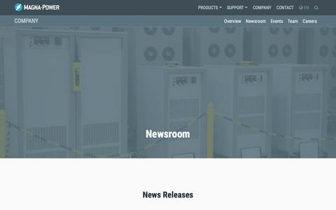 Screenshot of Press Page magna-power.com - New Products, Press Releases and Scholarly References | Magna-Power - captured Oct. 1, 2018