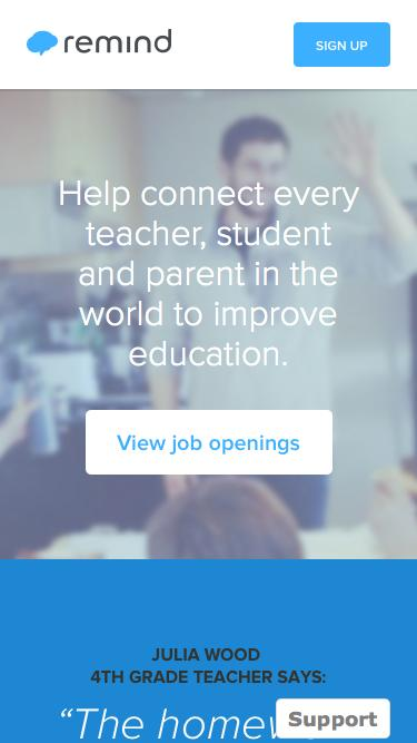 Screenshot of Jobs Page  remind.com - Remind | Help connect every teacher, student and parent in the world to improve education with Remind (formerly Remind101)