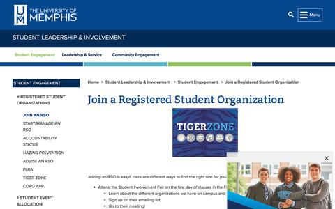 Screenshot of Signup Page memphis.edu - Join a Registered Student Organization -        Student Leadership & Involvement        - The University of Memphis - captured Aug. 17, 2019