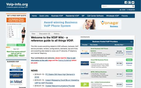 Screenshot of Home Page voip-info.org - voip-info.org - voip-info.org - captured Jan. 13, 2016