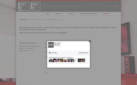 Screenshot of Contact Page alt-av.co.za - Contact | Alt AV - captured Feb. 5, 2016