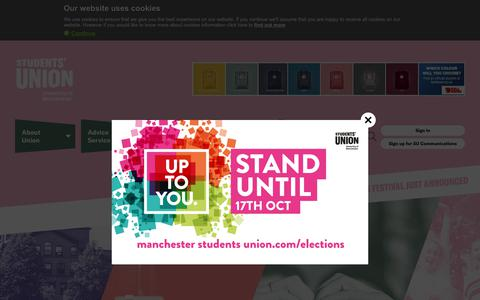 Screenshot of Home Page manchesterstudentsunion.com - University of Manchester Students' Union - captured Oct. 18, 2018