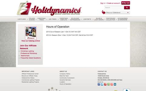 Screenshot of Hours Page holidynamics.com - Hours of Operation - Holidynamics - Holiday Lighting Solutions - captured Dec. 10, 2015