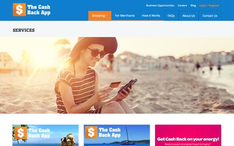 Screenshot of Services Page thecashbackapp.com - Services - The Cash Back App: Everybody Wins! Get Cash Back and Loyalty Rewards on your Shopping, Plus build a passive income! - captured Oct. 20, 2018