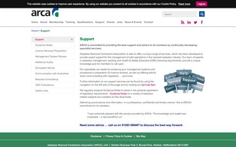 Screenshot of Support Page arca.org.uk - Range of support services from Asbestos Removal Contractors Association - ARCA - captured Nov. 21, 2016