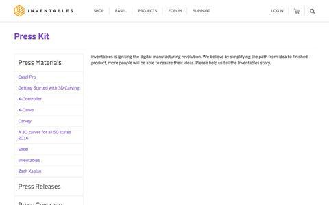 Screenshot of Press Page inventables.com - Inventables: Press Kit - captured Sept. 22, 2018