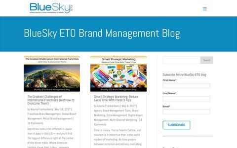Screenshot of Blog blueskyeto.com - Brand Management blog articles for distributed marketers and brands - captured June 2, 2017