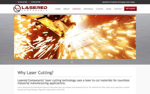 Screenshot of Services Page lasered.co.uk - Why Laser Cutting? | Services - Lasered Components ltd - 01376 327182 - captured Feb. 4, 2018