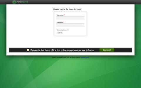 Screenshot of Login Page casepacer.com - Case Pacer |  	Sign In - captured Sept. 29, 2014