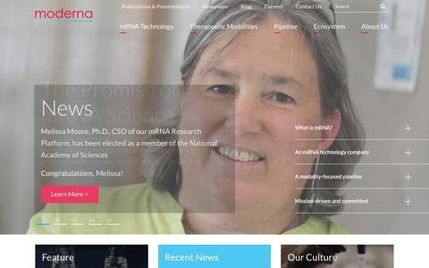 Screenshot of Home Page modernatx.com - Moderna Therapeutics   Home - captured May 8, 2017