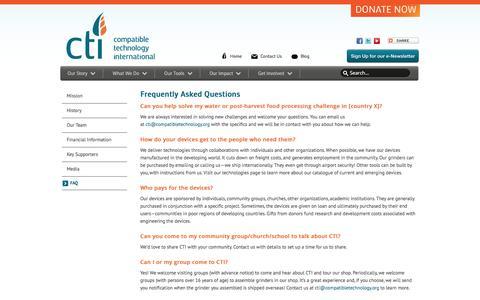 Screenshot of FAQ Page compatibletechnology.org - CTI - FAQ - captured Jan. 29, 2016