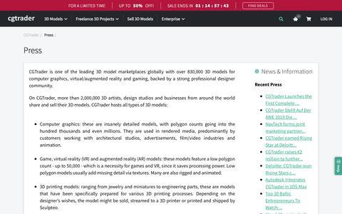 Screenshot of Press Page cgtrader.com - Press | CGTrader - captured Aug. 14, 2019