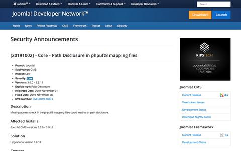 Screenshot of Developers Page joomla.org - [20191002] - Core - Path Disclosure in phpuft8 mapping files - captured Nov. 6, 2019